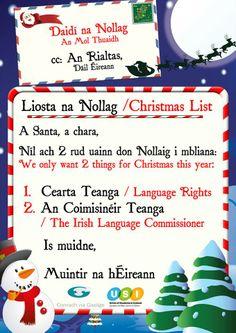 Litir chuig Daidí na Nollag - cearta teanga agus Coimisinéir Teanga á lorg ón Rialtas don Nollaig. Ní neart go cur le chéile #Coimisinéir #Gaeilge #ceartateanga
