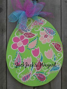 Easter egg flower pattern door hanger Easter by JackJacksWayart
