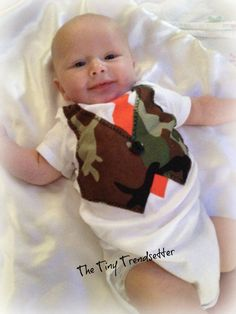 Baby Boy Camouflage One Piece With Tie by TheTinyTrendsetter, $21.00