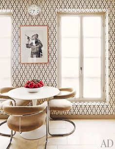 cococozy architectural digest timothy whealon monte carlo home kitchen breakfast nook saarinen tulip table moroccan inspired trellis wallpaper phillip jeffries milo baughman metal chairs