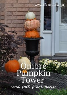 Ombre Pumpkin Tower:  beautiful and easy ombre pumpkin tower, with pretty leaf layers in-between, and gorgeous front porch decor.