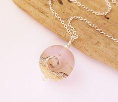 Pink Wave Necklace Beach Jewelry Ocean Wave Lampwork by JBMDesigns $32.00