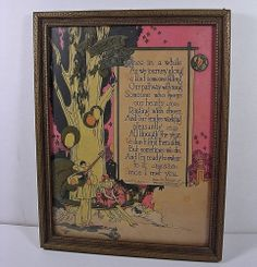 VINTAGE 1928 BUZZA MOTTO FRAMED ART DECO PIERROT CLOWN M. HATHAWAY LOVE POEM