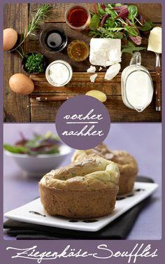 Diese leckeren Soufflés werden mit Ziegenkäse gemacht und sind super leicht und fluffig. Sie eignen sich perfekt als Vorspeise oder mit Salat kombiniert als Hauptgericht. http://eatsmarter.de/rezepte/ziegenkaese-souffles