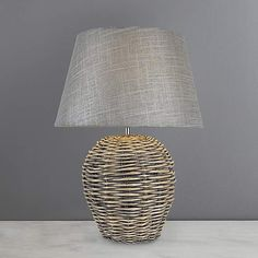 Bring a homely touch to your home with this Lari split weave table lamp, complete with a grey shade. Please note: This light does not come with a bulb. Console Table, Table Lamp, Diy Furniture Easy, Wicker Table, Lamp Bulb, Floor Lamp, Cleaning Wipes, Weaving, Flooring