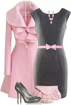 Ahh, pink and grey - a fabulous coat with that ruffle - I can picture Kate Middleton wearing this outfit.