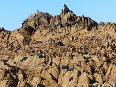 Jagged rock outcrop at Cobo Bay