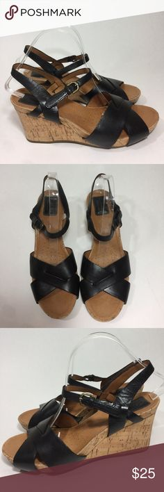 Clarks artisan Cork Wedge Black Leather Sandals 10 A nice pair of gently used Clarks cork wedge black leather sandals. Size 10 AM. Great condition. Heel height 3 1/4 inches Clarks Shoes Wedges