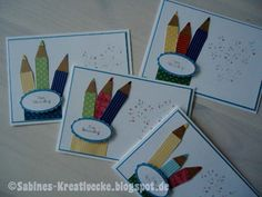 Sabines Kreativecke: Schulanfang, Stampin up! First Day Of School, Back To School, Stamping Up, Kids Cards, Confetti, Kindergarten, Baby Kids, Diy And Crafts, Card Making