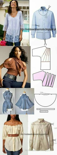 New Sewing Clothes Refashion Remake Blouses 41 Ideas - Bricolage Kleidung Upcycle Diy Clothing, Sewing Clothes, Clothing Patterns, Dress Patterns, Sewing Patterns, Clothes Refashion, Refashioned Clothes, Dress Sewing, Men's Shirt Refashion