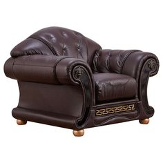 ESF 48 Inch Chair with Button Tufting, Rolled Arms and Top Grain Leather Upholstery in Brown Cream Living Room Decor, Small Living Room Furniture, Living Room Chairs, Dining Room, Genuine Leather Sofa, Best Leather Sofa, Sofa Set Designs, Sofa Design, Traditional Sofa