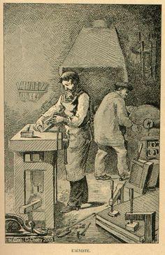 Ébéniste ; Artisan qui fabrique des meubles en bois précieux et en particulier en bois d'ébène, voir aussi Marqueteur