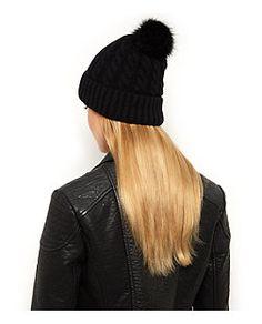 Black Cable Knit Faux Fur Bobble Hat  | New Look