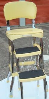 70's kitchen stool with fold out steps.  We had one in red.  It was brilliant!