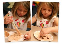 Chocolate Chip Cookie Craft - We used small paper plates, shaving cream paint, and felt 'chocolate chips' to make puffy paint chocolate chip cookies. No Time for Flashcards has a recipe for puffy shaving cream paint.  The kids painted their plates and then rolled a number die to see how many 'chips' they needed to add to their cookie and they had to count them out. If they wanted too, they rolled it again and added that many more to their cookies.