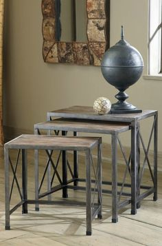 Visually appealing and functional, these side tables are made from distressed driftwood, serve as helpful additional surfaces at all your parties, and conveniently stack for easy storage.
