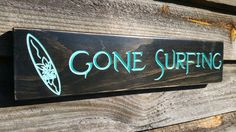 Beach Gone Surfing Gifts Under 24 Wood Carved Ocean Decor Sign