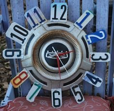 Vintage Ford Lincoln Hubcap Clock License Plate Clock by dables