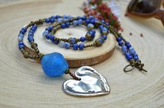 Long wrap boho necklace blue gift for wife lapis lazuli