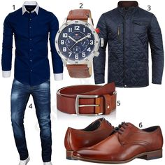 Men Clothing Elegant men's style with dark blue Amaci & Sons shirt, blend transitional jacket, A. Salvarini blue jeans, Tommy Hilfiger watch with brown leather strap, leather belt and Bugatti business shoes. Business Shoes, Business Outfits, Business Casual, Stylish Mens Outfits, Casual Outfits, Men Casual, Elegantes Business Outfit, Tommy Hilfiger Watches, Mode Man