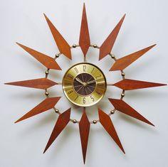Starburst Clock by Welby Mid Century Modern Atomic Mid Century Decor, Mid Century Furniture, Mid Century Design, Atomic Wall Clock, Wall Clocks, Sunburst Clock, Vintage Walls, Vintage Clocks, Unique Furniture