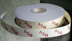 This listing is for 2 continuous yards of 7/8 wide cream grosgrain/double faced satin ribbon (you choose, just memo which one you'd like when checking out) with the Delta Sigma Theta Greek symbols pri