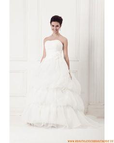 2013 Neuer Stile elegantes maßgeschneidertes Brautkleid aus Satin und Organza