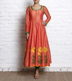 Pink Embroidered Cotton Anarkali Suit