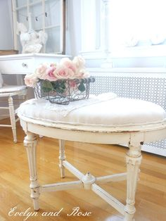 DIY:  How to Repurpose a Table into a Bench - this tutorial shows how to cover the table with a drop cloth - via Evelyn and Rose