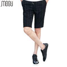 MOGU Shorts For Men 2017 Summer New Arrival Fashion Stripe Men's Shorts Slim Fit Knee Length Male Shorts Asian Size Shorts Men