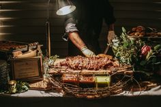 Meat carving station for wedding reception food | Photo by: Streetlight Republic