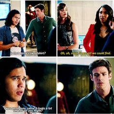 """""""It looks a lot smaller on you. Right?"""" - Cisco, Caitlin, Iris and Barry #TheFlash"""