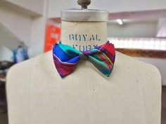 Raw Silk Bow Tie Blue Green and Red Plaid by BowMeAwayByAlexandra
