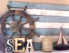 Coastal, Beach + Nautical Decor + Interiors, Driftwood + Shell Decor, Crafts, Art + more: DIY Wood Pallet Decor Ideas