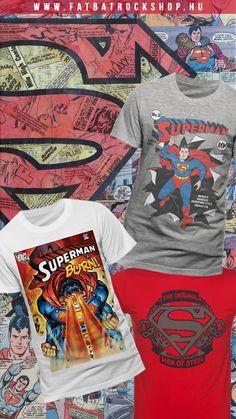 Szuper termékek, szuper nyitó árakon a készlet erejéig! Vegyél valami menőséget, hogy menő lehess a haverjaid előtt! smile hangulatjel Elérésünk: www.fatbatrockshop.hu Man Of Steel, Superman, The Man, Mens Tops, T Shirt, Fashion, Supreme T Shirt, Moda, Tee Shirt