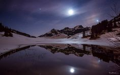 The moon in the mirror lake