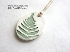 Essential Oil Diffuser Necklace, Aromatherapy Clay Jewelry, Nature Inspired, Fern Design Necklace, Handmade Gift Idea - pinned by pin4etsy.com