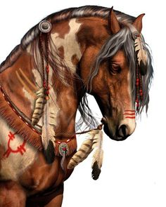 "The Glory of the Indian Pony. The Native Americans honored and revered their horses so much that they grieved and memorialized their deaths whenever they were killed in combat or battle, often by creating effigies or carving & painting ""horse spirit sticks"" to resemble the deceased horse."