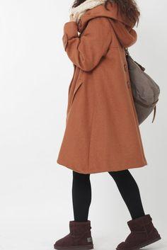 dark orange cloak wool coat Hooded Cape women Winter wool coat. $139.00, via Etsy.
