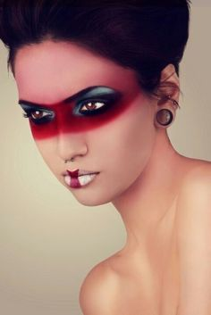 "Make the red around the eyes, black, and the entire inside of the eyes, red. For a ""demon capricorn"" tattoo."