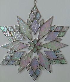 stained glass snowflake suncatcher design 21C