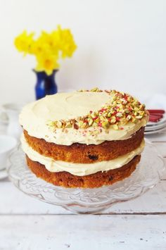 Carrot cake with pistachios and vanilla bean icing.