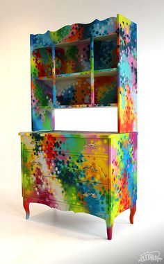 graffiti covered - An artist who goes by the name 'Dudeman' creates fantastically flashy graffiti covered furniture. These dressers and cupboards pretty m...