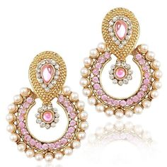 Pink Stone Gold Plated White Pearl Party Wear Bollywood Girls & Women Earring #natural_gems15
