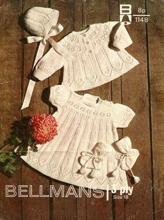 """PDF Baby Knitting Pattern - Matinee Coat, Dress, Bonnet, Bootees - 3 Ply Baby Set 18""""  Bellmans 1148 Instant Download"""