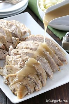 Moist slow cooker turkey breast recipe from /bakedbyrachel/ Slow Cooker Turkey, Crock Pot Slow Cooker, Crock Pot Cooking, Slow Cooker Chicken, Slow Cooker Recipes, Crockpot Recipes, Cooking Recipes, Yummy Recipes, Dinner Recipes