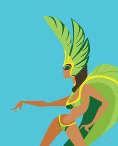 Samba Queen Brazil Carnival flat illustration