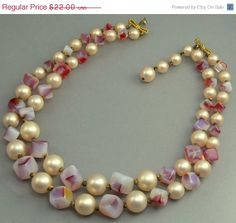Vintage Double Strand Bead Necklace Signed Marvella by jujubee1, $19.80