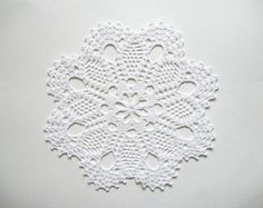 Large Crochet Doily White Cotton Lace by HandcraftedorVintage