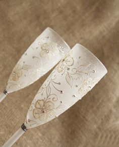 Wedding Champagne Flutes Hand Painted Swarovski by NevenaArtGlass